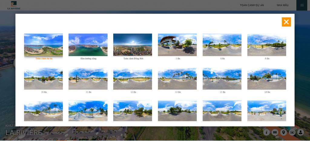 Lựa chọn khu vực tham quan trong dự án tour 360 cho bất động sản