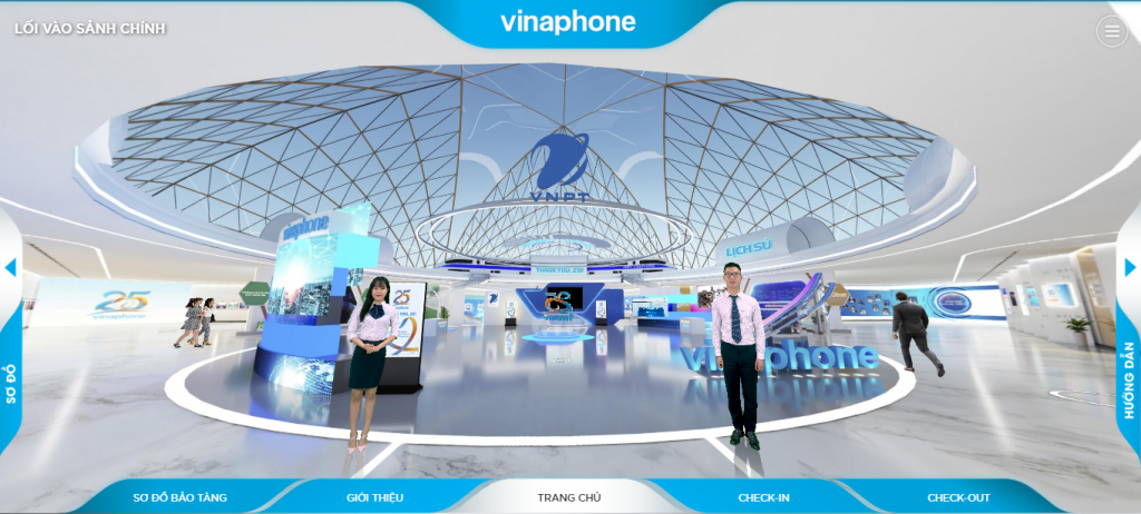 Sảnh chính của VNPT trong VR Tour 360 cho bảo tàng online
