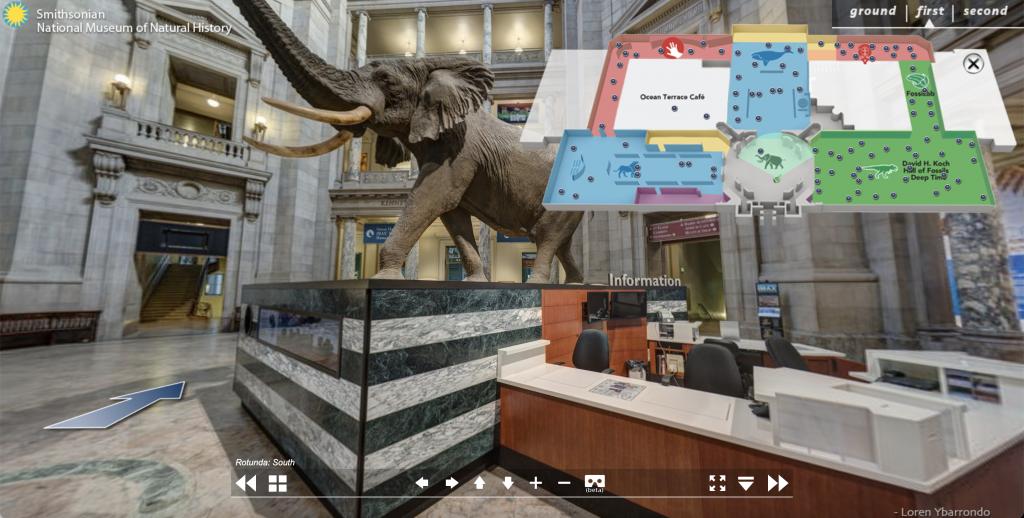 Hiển thị sơ đồ mặt bằng bảo tàng Lịch sử tự nhiên quốc gia Smithsonian (Washington DC)