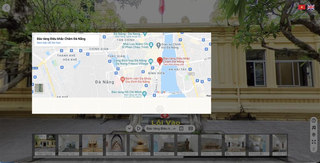Định vị vị trí bảo tàng, triển lãm trên Google Maps ( Bảo tàng Chăm Đà Nẵng - VIệt Nam)